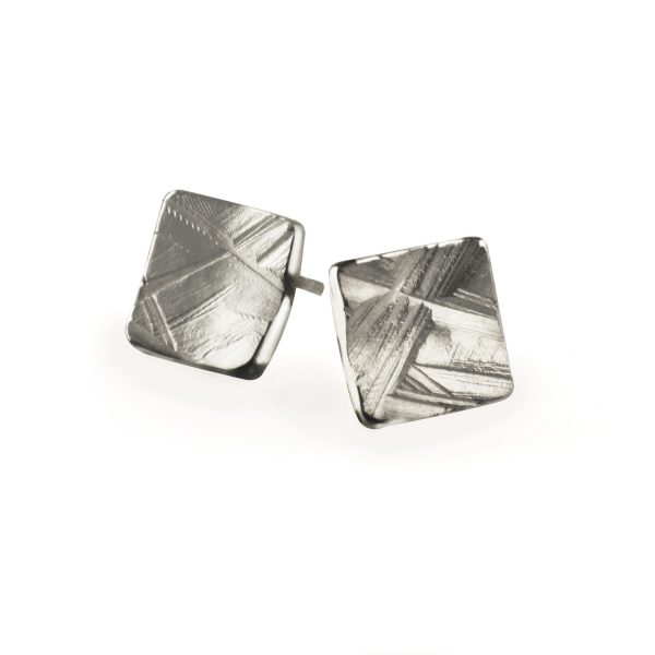 ilver textured Stud Earrings