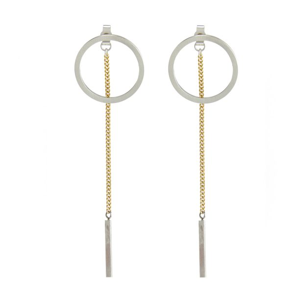 Unique Circle Silver & Gold Drop Earrings - Sterling Silver Conponents  BV82