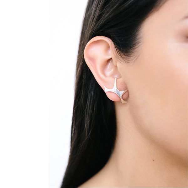 Unique Designer Earrings Silver Stud