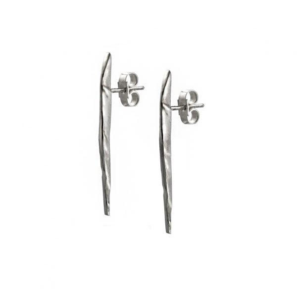Long silver earring